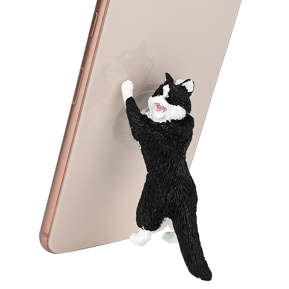 Tuscom Cute Cartoon Cat Phone Sucker Bracket,10.5x5.5x7.5cm Simulation Animal Model Phone Bracket (Black)