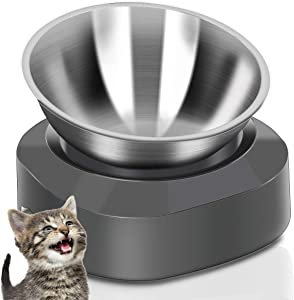AYADA Raised Cat Food Bowl, Stainless Steel Cat Dish for Food Water Anti Vomiting Elevated with Stand Ergonomic Lifted Slanted Tilted 15 Angle Metal Single Kitty Kitten Wet Food Bowl Pet Bowl