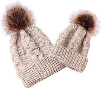 puseky 2 Piezas de Sombreros a Juego para Padres e Hijos Madre bebé Tejer Crochet Gorro de Invierno Gorro Gorro