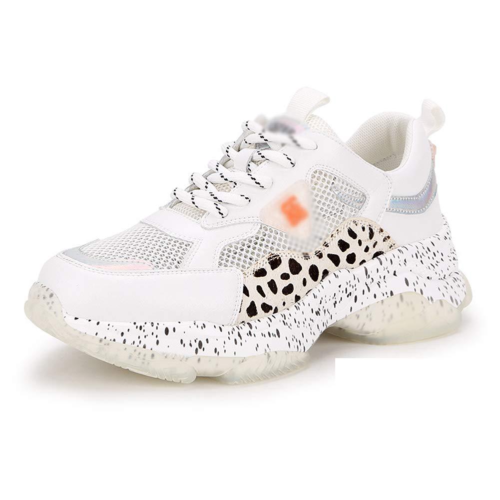White Women's Memory Foam Lace-up Sneaker Running Fashion Comfortable shoes,Pink,36