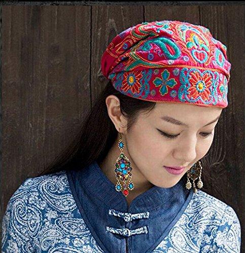 Beanie berretto cappello, Donna ricamo cappello per viaggio,accessori,trucco ,perdita dei capelli,chemioterapia (Rosso): Amazon.it: Abbigliamento