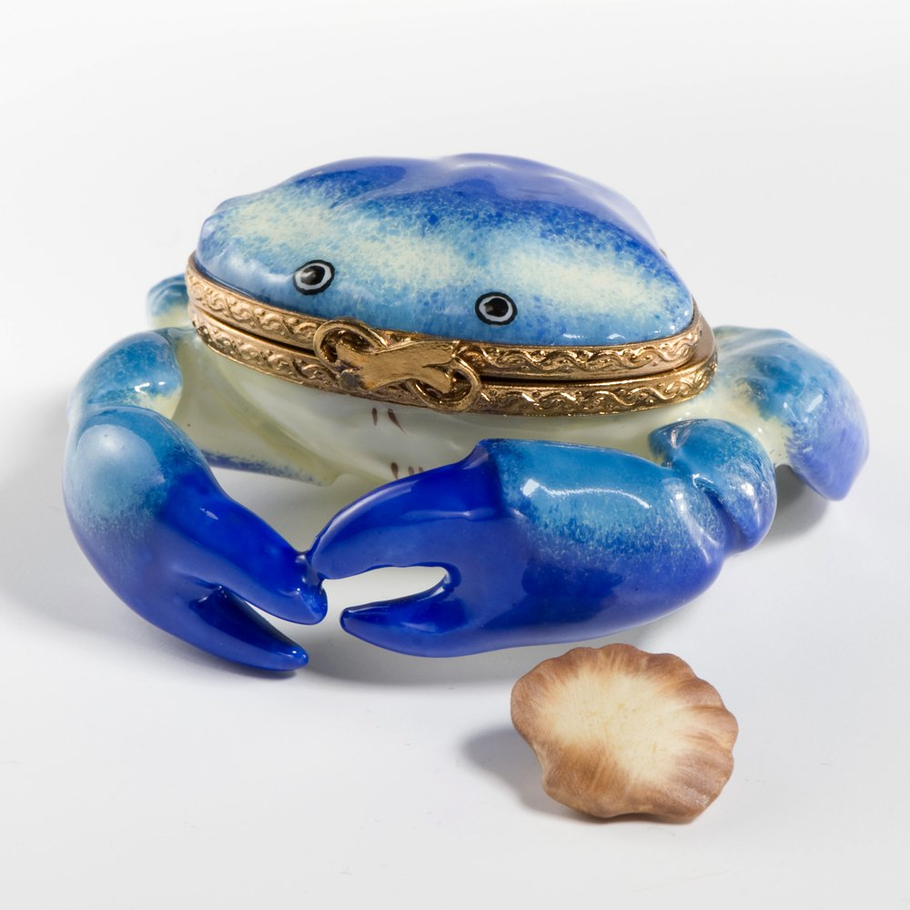 Limoges French Handpainted Blue Crab with Shell Box by Authentic Limoges Boxes