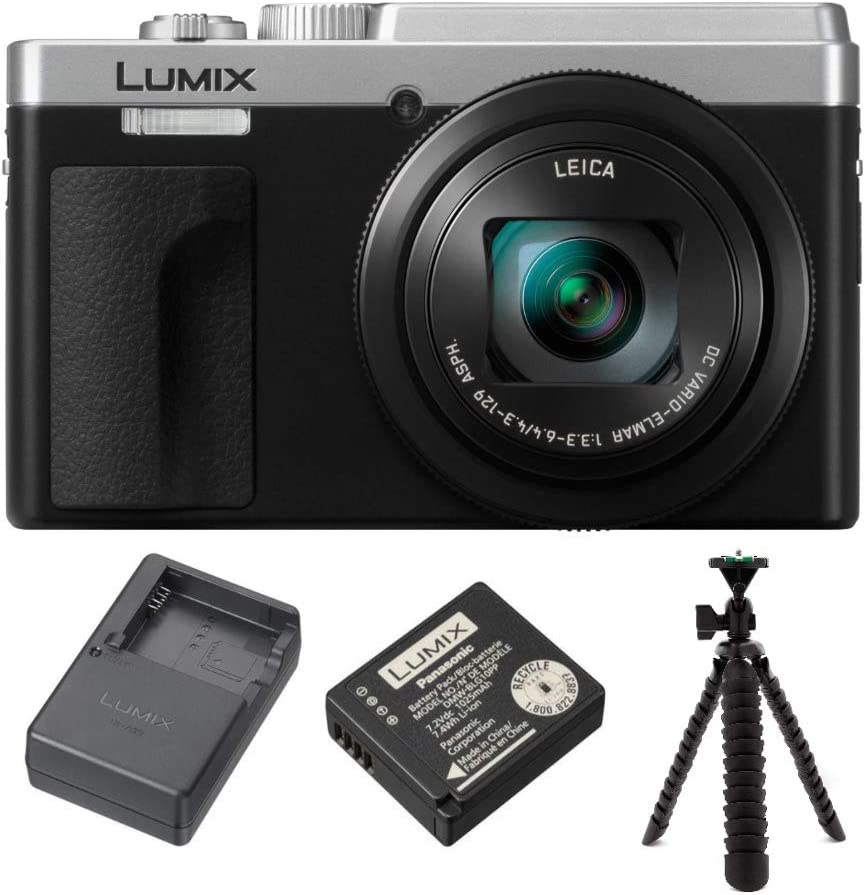 Panasonic LUMIX ZS80 24-720mm Travel Zoom Lens Digital Camera (Silver) with Panasonic Lumix Battery and External Charger Travel Pack (DMW-ZSTRV)