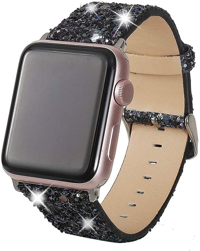 Henstar Compatible with Apple Watch Band 38mm 40mm,Women Genuine Leather Shiny Bling Glitter Sparkly Strap Wristband Compatible with iWatch Series 5 4 3 2 1(Christmas-Black, 38/40mm)