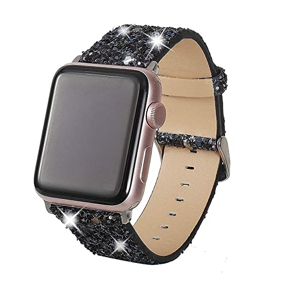 9eaee623c Henstar Compatible with Apple Watch Band 38mm 40mm,Women Genuine Leather  Shiny Bling Glitter Sparkly