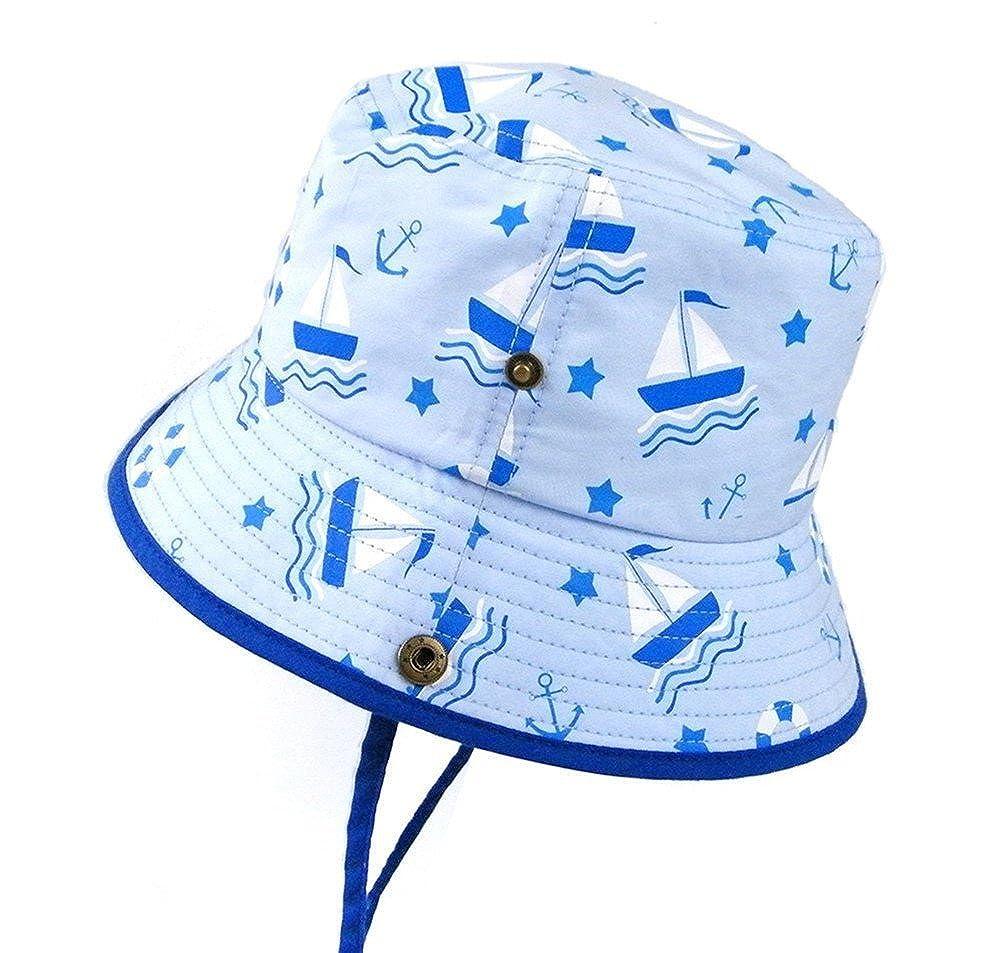 cicity Unisex Cappello della Benna da Bambini Cappello del Pescatore con Cinghia Regolabile Protezione Solare Bucket Hat per Primavera Estate barca a vela