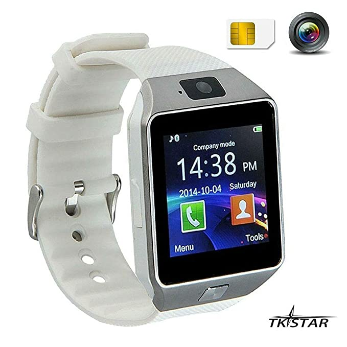 Touch Screen Smart Reloj Smartwatch con Funciones de teléfono móvil Bluetooth Fitness Dormir Monitor Audio Play Facebook dz09 Color Blanco