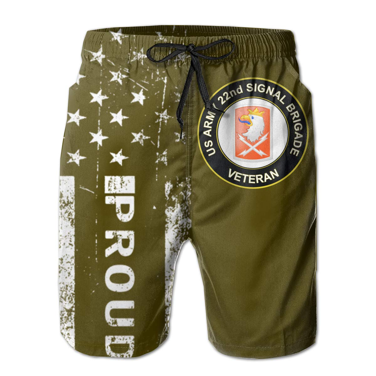 US Army 22nd Signal Brigade Veteran Mens Boardshorts Swim Trunks Beach Athletic Shorts
