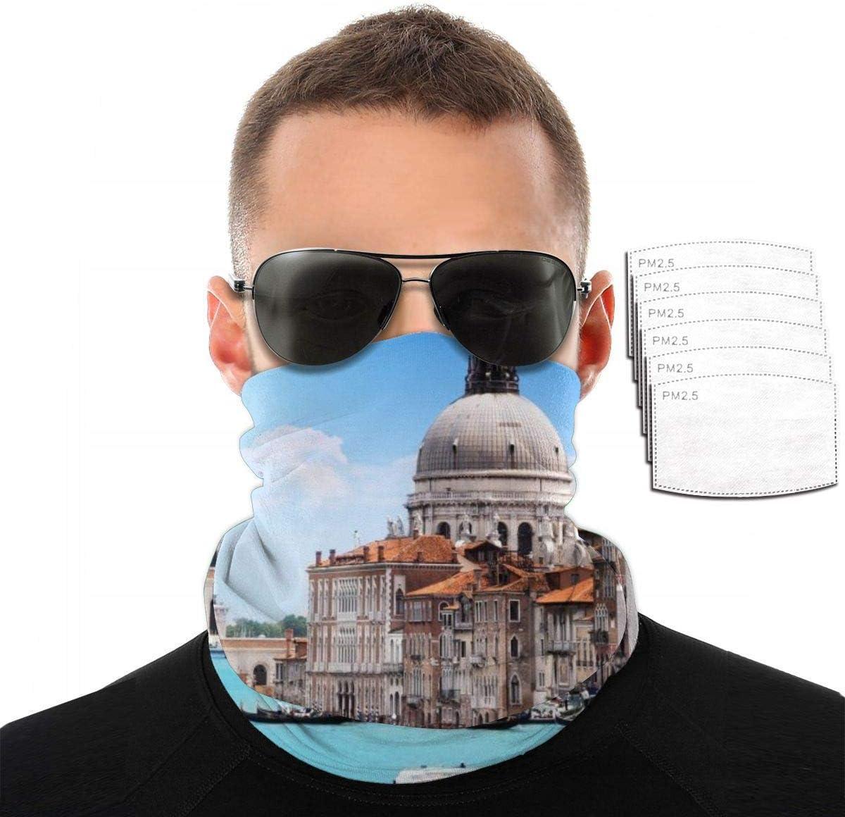 Xiumeimei Venice Italy Santa Maria Della Salute Cities Architecture Neck Gaiters Mouth Cover Bandanas Headscrarf, Protección Solar Antipolvo,Transpirable para Exteriores