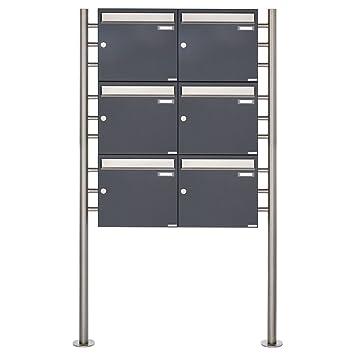 6er Standbriefkasten - 6 fach Briefkastenanlage Design BASIC 381 -  Briefkasten Manufaktur Lippe (6 Parteien, senkrecht, Edelstahl / RAL 7016  ...