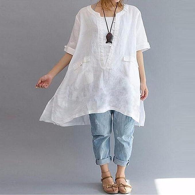 Top Suelto Mujer Mujer Sexy, Covermason Camisa de Lino Suelta de Moda Irregular para Mujer(50, Blanco): Amazon.es: Ropa y accesorios