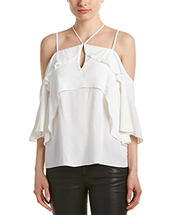 cfb99dd6cb1986 Image Unavailable. Image not available for. Color  Ella Moss Womens Stella  Ruffled Cold Shoulder Casual Top ...