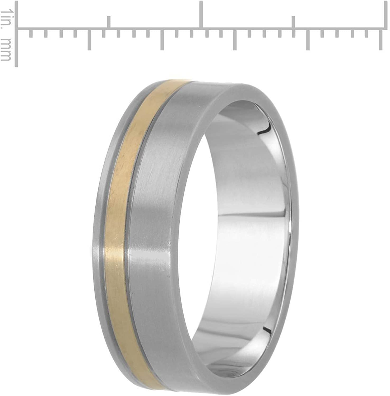 VS1 Diamond Band Ring. Teno Stainless Steel With Gold Inlay 0.02 CTW Color F