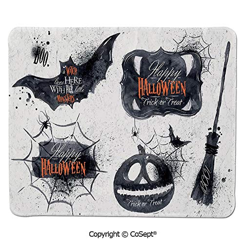 (Non-Slip Rubber Base Mousepad,Halloween Symbols Happy Holiday Witch Lives Here Broomstick Spider Web Decorative,Non-Slip Water-Resistant Rubber Base Cloth Computer Mouse Mat (11.81