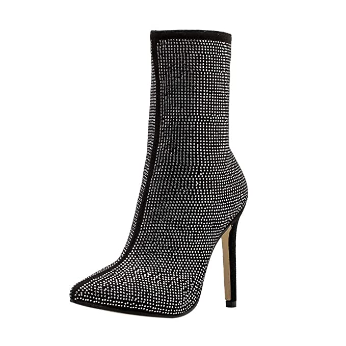 1b5b0cee794 Hunzed Women's Pointed Rhinestone high Heel Boots Autumn and Winter Women's  Shoes