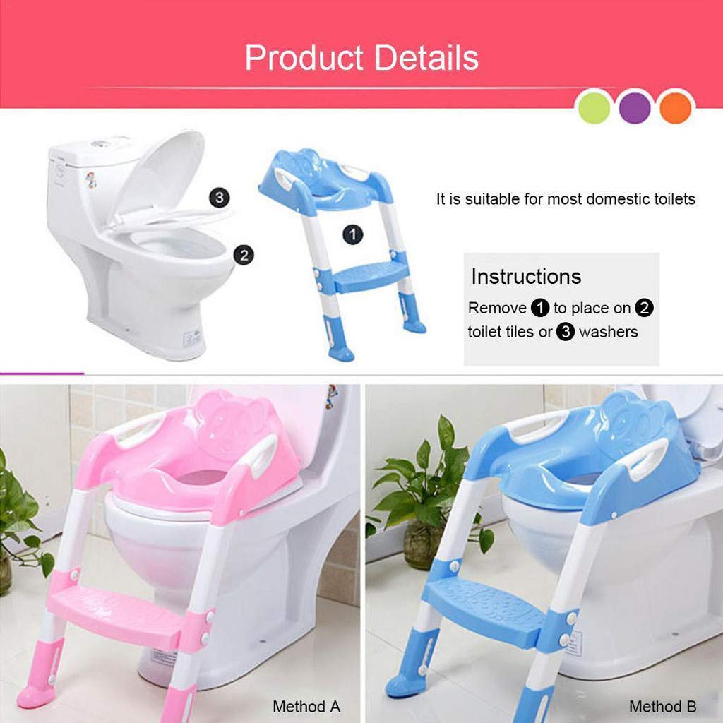 Baby Potty Toilet Training Seat by HP95, Folding Toddlers Bathroom Training Chair Cover for Toilet - Boys & Girls Toilet Training Seat Ladder with Wide Step (A, Blue) by HP95_Baby Supplies (Image #5)