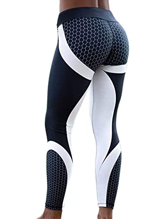 e7409a99aeb53 RIOJOY Digital Print Leggings for Women, Honeycomb Pattern Graphic Stretchy  Gym Workout Tights, Slim Fit Fitness Yoga Pants: Amazon.co.uk: Clothing