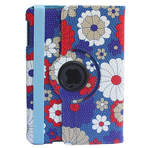 LISEN® PU Leather 360 Degree Rotating Case Cover for Apple iPad Mini (iPad Mini 2) + Screen Protector Film + Stylus Pen+Cleaning Cloth in Retail Packaging(Blue(Gerbera Flower))