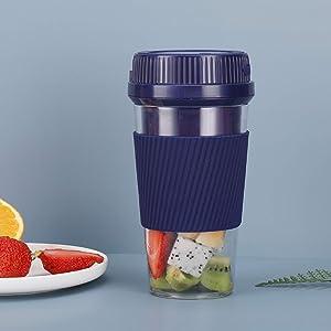 Portable blender, personal blender, smoothie mini juicer cup USB rechargeable and personal size blender milkshake fruit vegetable (blue)
