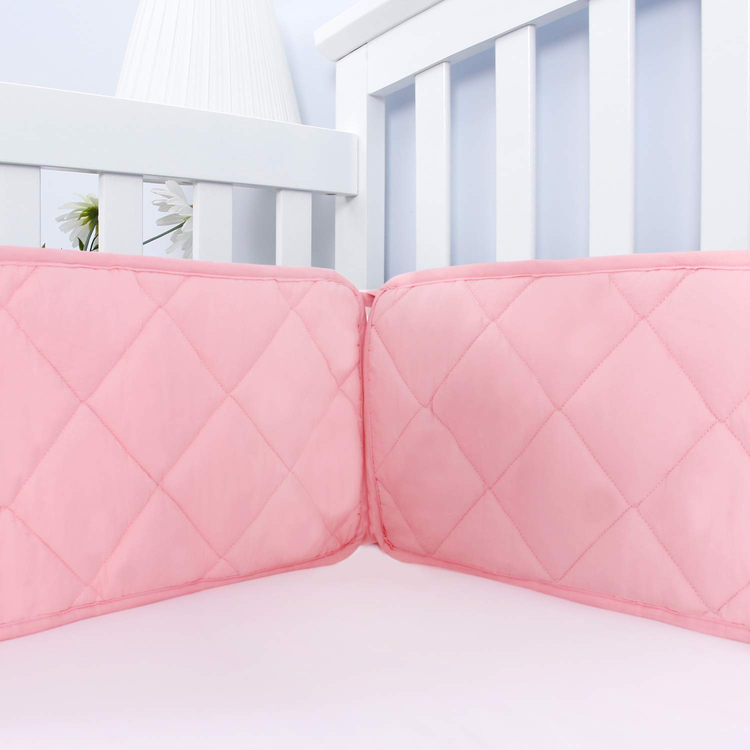 "Baby Crib Bumper Pads for Standard Size Crib(52""x28""), Durable & Breathable Crib Bumper Pads for Girls,Safe Toddler Bed Bumper for Crib Pink"