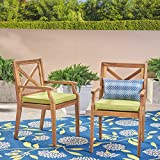 Great Deal Furniture | Peter | Outdoor Acacia Wood Dining Chair with Cushion | Set of 2 | Teak/Green