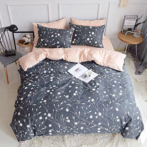 HIGHBUY Girls Women Floral Duvet Cover Set Twin Queen Reversible 100% Cotton Bedding Sets 3 Pieces (1Duvet Cover + 2 Pillowcases) Twin Queen Cotton Duvet Cover Sets for Bed Collections