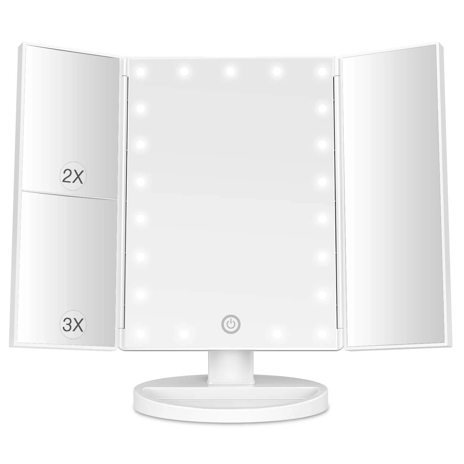 BESTOPE Makeup Vanity Mirror with Lights, 2X 3X Magnification, 21 Led Lighted Mirror with Touch Screen,180 Adjustable Rotation,Dual Power Supply,Portable Trifold Mirror