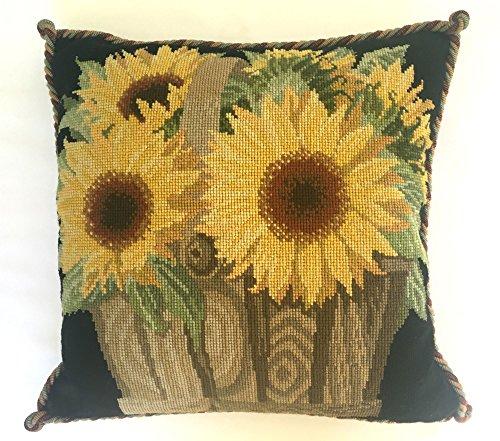 Sunflower Basket Needlepoint Tapestry Kit from Elizabeth Bradley premium English needlework project with 100% wool yarns