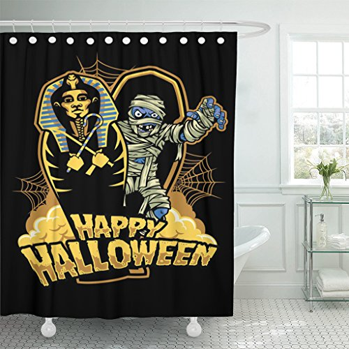 TOMPOP Shower Curtain Coffin Halloween Mummy Out from