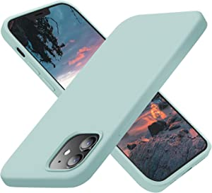 Cordking Designed for iPhone 12 Pro Case, Designed for iPhone 12 Case, Silicone Shockproof Phone Case with [Soft Anti-Scratch Microfiber Lining] 6.1 inch, Mint Green