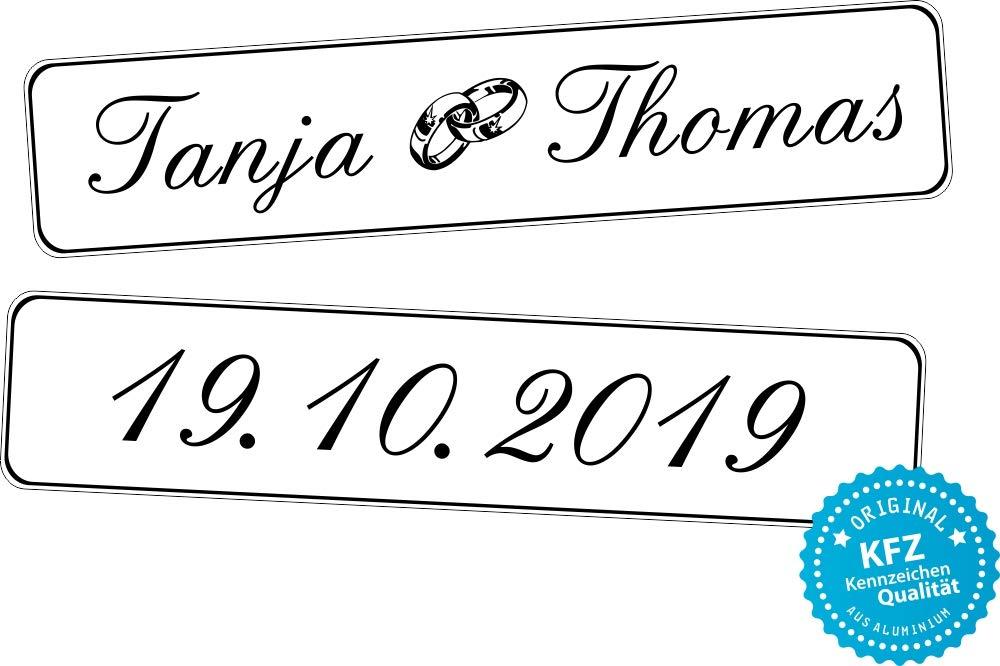 liebesmasche Original KFZ-Kennzeichen Hochzeit Autoschilder Hochzeitsschilder Hochzeitsschild Namensschilder mit Datum und Namen 0193-10
