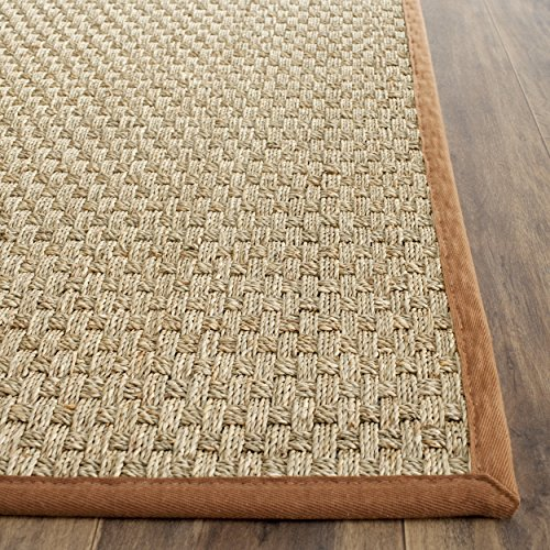 4' Runner (Safavieh Natural Fiber Collection NF114B Basketweave Natural and  Brown Seagrass Area Rug (2'6