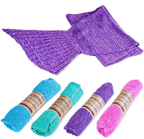 """Kitchen + Home Mermaid Tail Blanket - Super Soft All Season Crochet Mermaid Pattern Knitted Sleeping Bag Throw for Adults and Kids - 72""""x35"""" - Coral Reef Purple"""