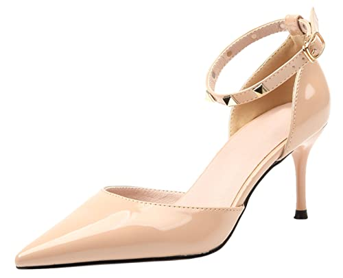 2eb6719fa9437 Amazon.com   BIGTREE D'Orsay Women Pumps Pointed Toe Studded High ...