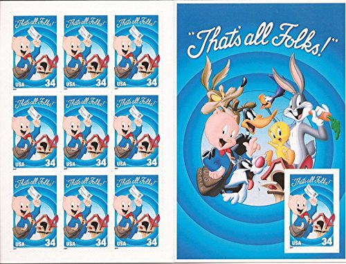Looney Tunes Porky Pig Sheet of Ten 34 Cent Stamps Scott 3534