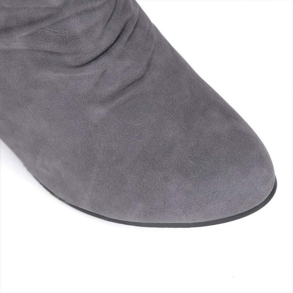DETAIWIN Womens Fashion Mid Calf Boots Low Heel Zipper Round Toe Elegant Slip On Buckle Comfortable Winter Boots