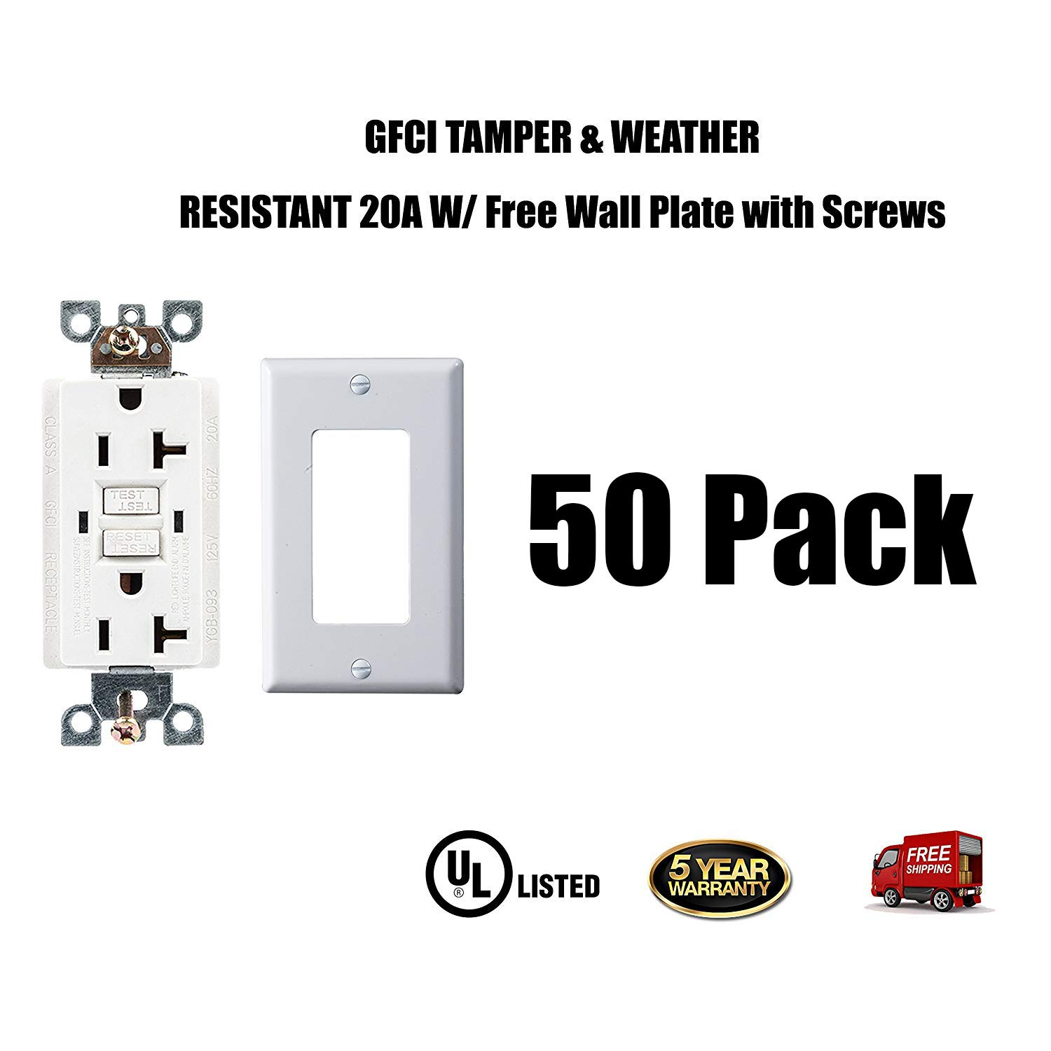 Dynamics Gfci Weather Proof Tamper Resistant Receptacle With Led 15 Or 20 Amp Receptacles Indicator White 5 Pack