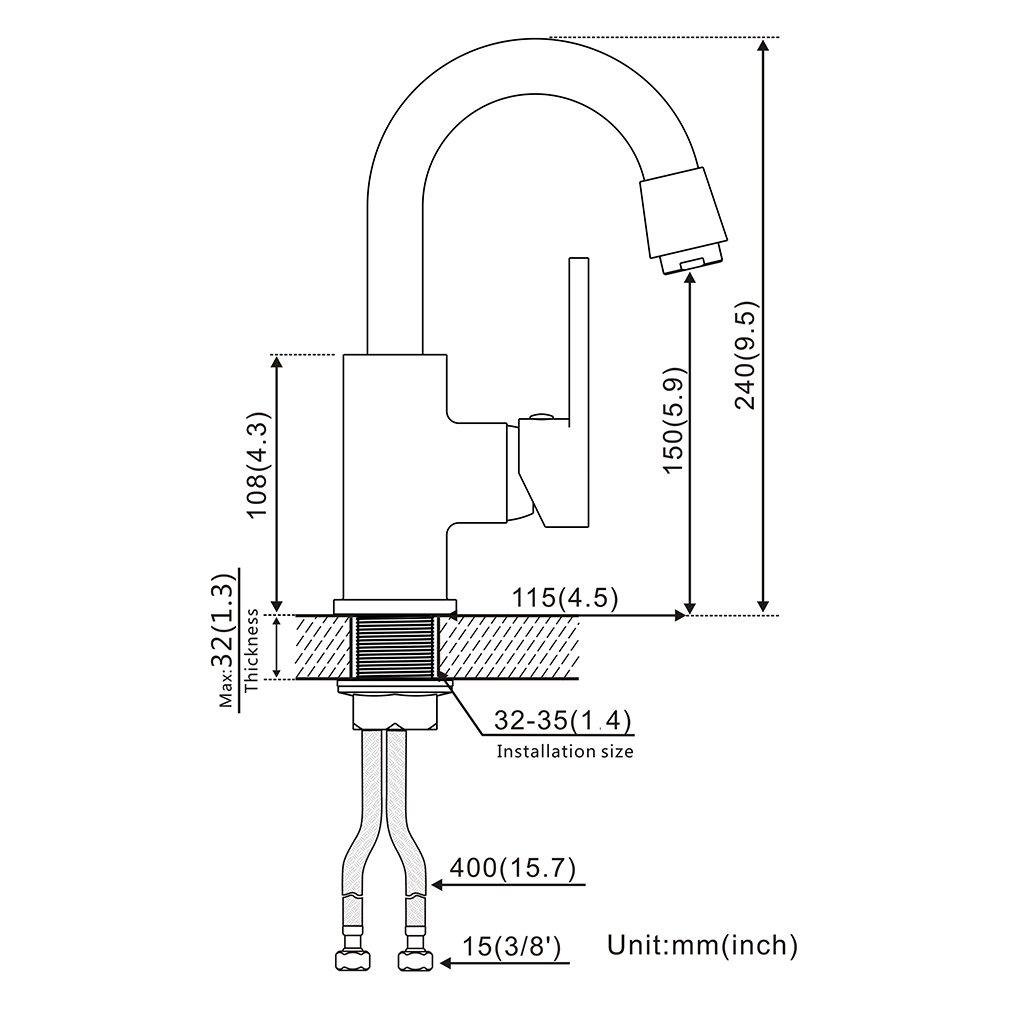 Grifo para lavabo AuraLum giratorio 360/°, para cuarto de ba/ño, manguera de 50 cm