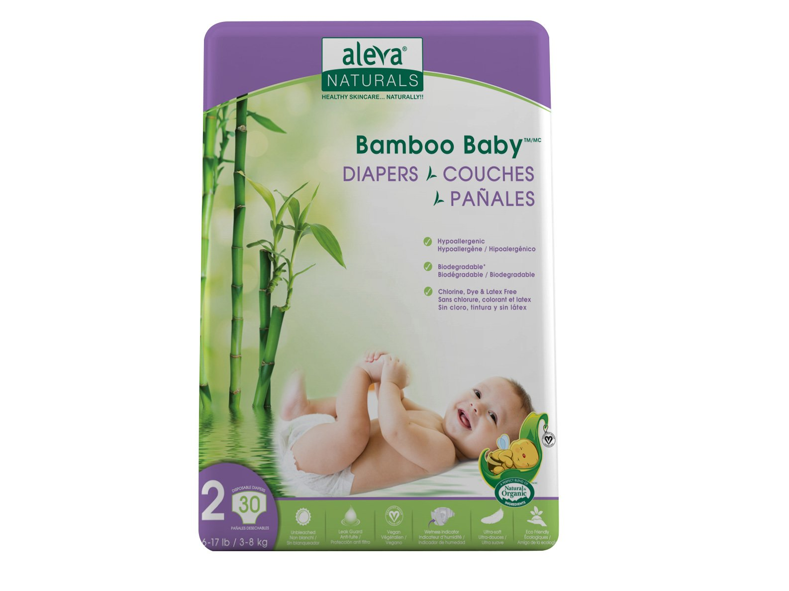 Aleva Naturals Bamboo Baby Diapers, Size 2, (6-17 lbs / 3-8 kgs) 30 Count