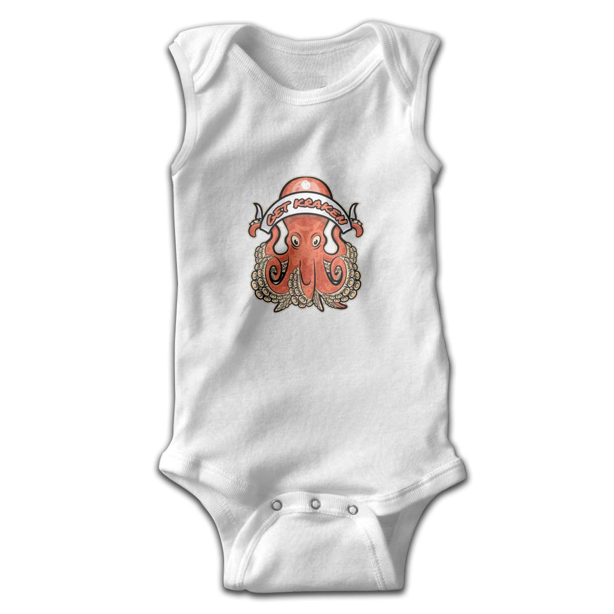 Dfenere Get Kraken Newborn Baby No Sleeve Bodysuit Romper Infant Summer Clothing Black