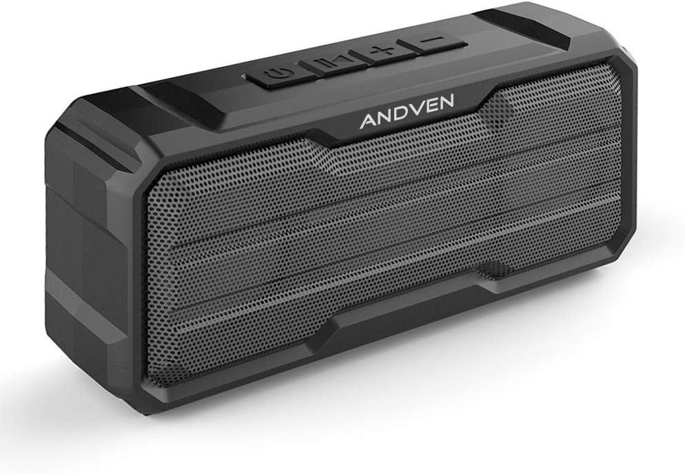 Altavoz Bluetooth Portátil, Andven 360° Inalámbrico Sonido Estéreo con Doble Driver, TWS Funcion con Micrófono y Manos Libres, IPX6 Impermeable para Playa, Ducha, Viajes - Negro