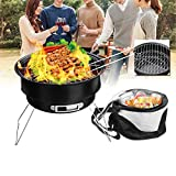 SENREAL BBQ Grill 2 in 1 Portable Barbecue Oven Folding BBQ Grill with Cooler Bag Camping Hiking Picnic