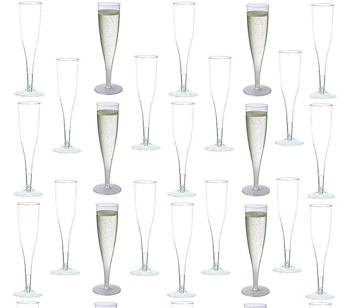 30 pc Clear Plastic Classicware Glass Like Champagne Wedding Parties Toasting Flutes by Oojami