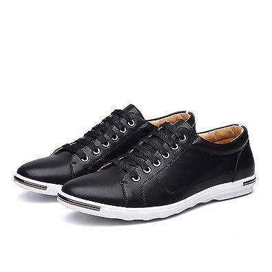 694275cc56a Men's Breathable Leisure Leather Fashion Split Shoes Lace-up Men Casual  Moccasins in Black White