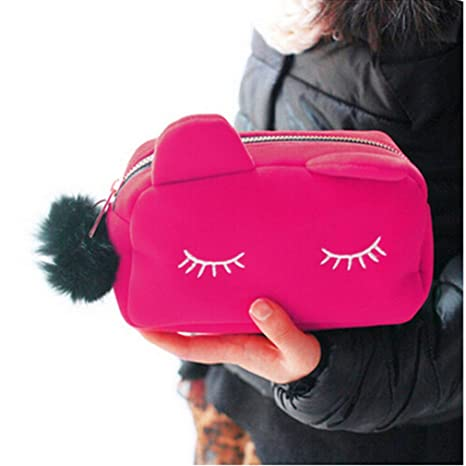 Amazon.com : Cute Cat Travel Toiletry Make Up Makeup Suitcase Case Storage Women Cosmetic Bag Organizer Black : Beauty