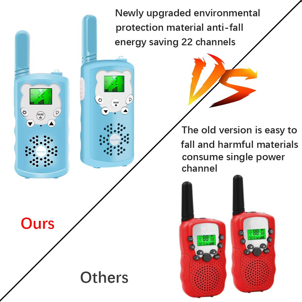 Walkie talkies for Kids - 4-Mile Range Kids walkie talkies with 22 FRS/GMRS Channels, Childrens Toys with BPA-Free ABS eco-Friendly Materials, Great Gift for 3-12 Year Old Boys and Girls,Teen Gift by weird tails (Image #6)
