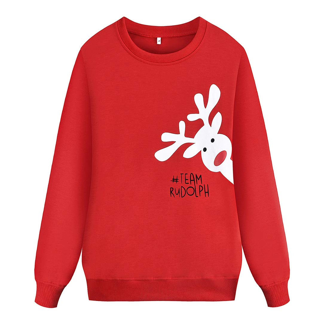 Christmas Matching Family Sweatshirts Elf//Reindeer Long Sleeve Round Neck Red Novelty Xmas Sweater Mom Dad and Baby Pullover for Men Women Girls Boys