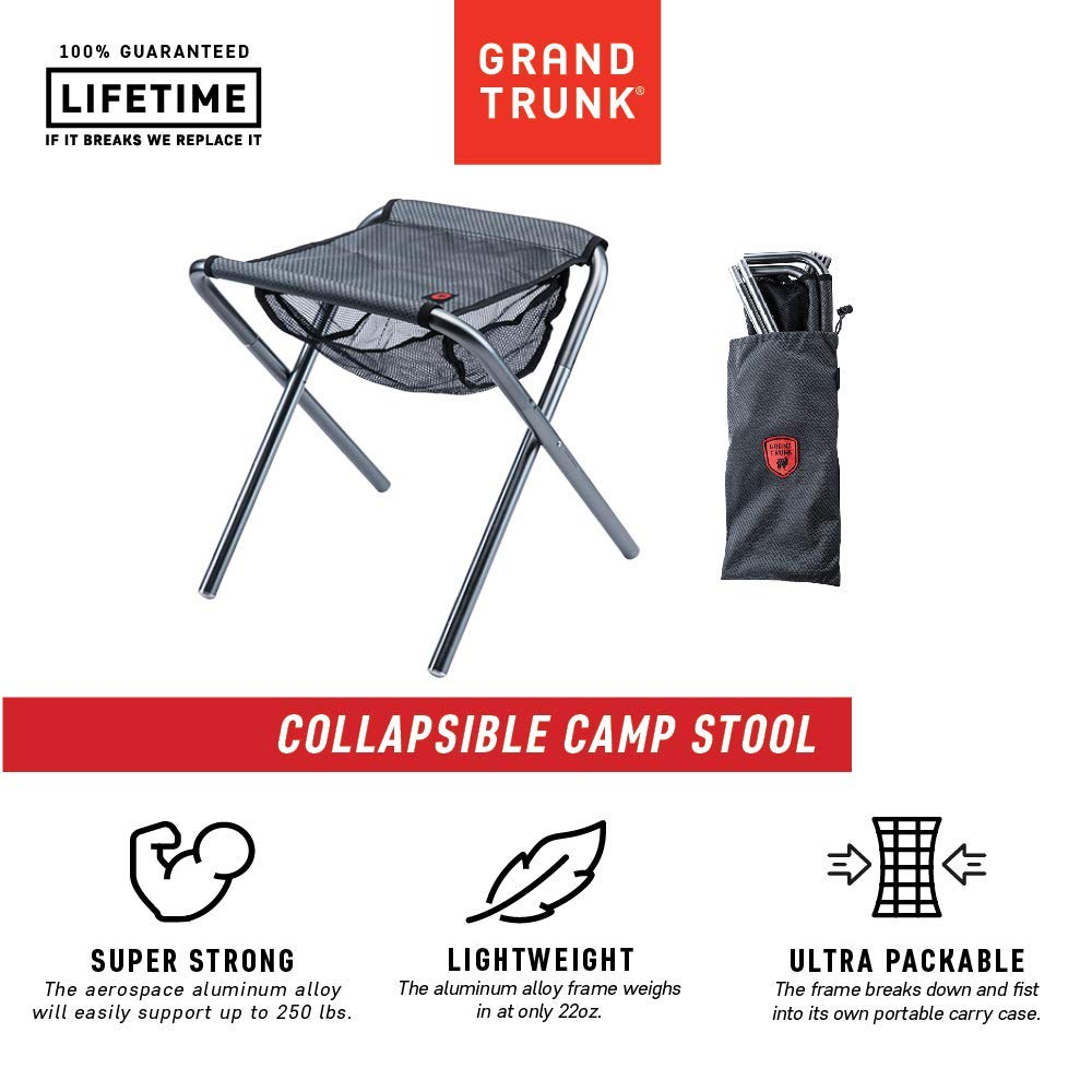 Grand Trunk, Micro Camp Stool (12'' x 13'' x 14.5'', Black/Silver) by Grand Trunk