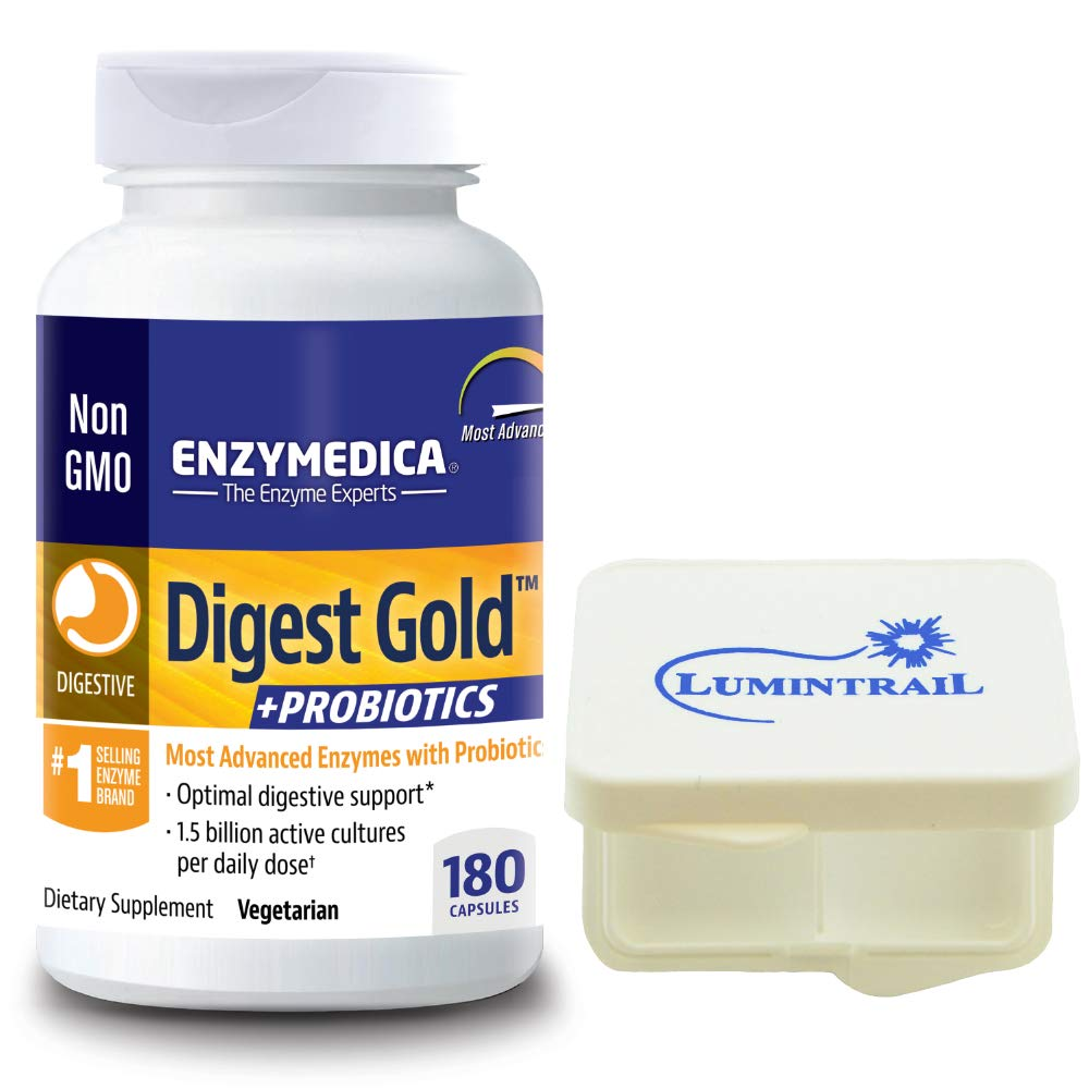 Enzymedica Digest Gold Plus Probiotics, Digestive Support, 180 Capsules Bundle with Lumintrail Pill Case