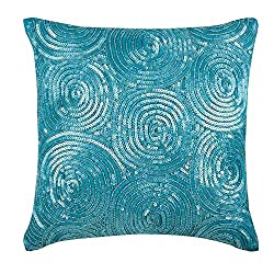 Spiral Blue Sequins Antique Pillows Cover